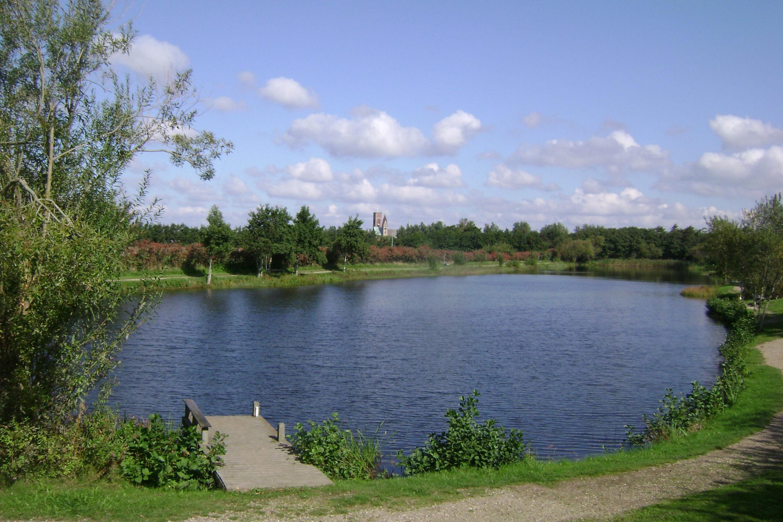 Lang sø med domkirke